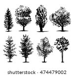 silhouette of trees set 2  ink... | Shutterstock .eps vector #474479002
