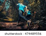 two athlete running through the ... | Shutterstock . vector #474489556