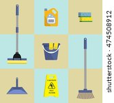 set of seven icons of cleaning... | Shutterstock .eps vector #474508912
