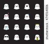 vector ghost emoji set. funny... | Shutterstock .eps vector #474514006