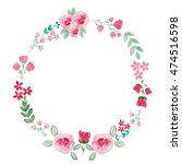 watercolor wreath of flowers on ... | Shutterstock . vector #474516598