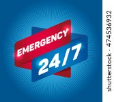 emergency 24 7 arrow tag sign. | Shutterstock .eps vector #474536932