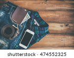 passport with cash in denim... | Shutterstock . vector #474552325