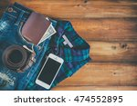 passport with cash in denim... | Shutterstock . vector #474552895
