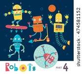 vector set of cartoon robots... | Shutterstock .eps vector #474581152