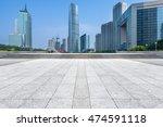 empty brick floor with city...   Shutterstock . vector #474591118
