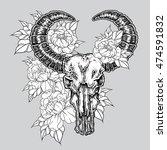 hand drawn dot work tattoo... | Shutterstock . vector #474591832