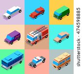 vehicles bright colors icons... | Shutterstock .eps vector #474598885