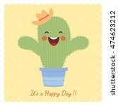 cute cartoon cactus on beige... | Shutterstock .eps vector #474623212