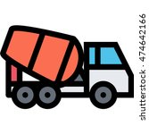 concrete mixer outline icon | Shutterstock .eps vector #474642166