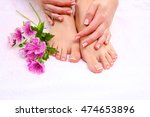 pedicure on legs and beautiful... | Shutterstock . vector #474653896