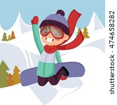 a boy rides on a snowboard.... | Shutterstock .eps vector #474658282