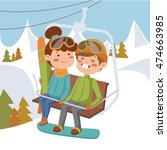 girl and boy on ski lift. on... | Shutterstock .eps vector #474663985