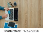 man working at desk and... | Shutterstock . vector #474670618