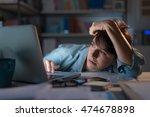 sleepy exhausted woman working... | Shutterstock . vector #474678898