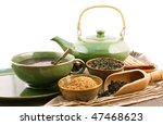 cup and teapot with wooden bowls and spoons - stock photo