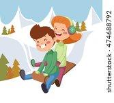 children on sleds. | Shutterstock .eps vector #474688792