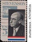 Small photo of UNITED STATES OF AMERICA - CIRCA 1965: A stamp printed in USA, shows portrait of politician Adlai Stevenson.