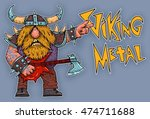 viking rock star  metal  music ... | Shutterstock . vector #474711688