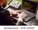 young businessman at work in... | Shutterstock . vector #474713335