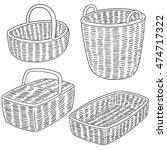 vector set of wicker basket | Shutterstock .eps vector #474717322