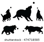 dogs playing with ball is an... | Shutterstock .eps vector #474718585