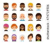 diverse avatar set isolated on... | Shutterstock . vector #474719506