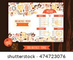 breakfast menu design template. ... | Shutterstock .eps vector #474723076