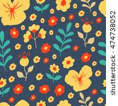 seamless pattern with summer... | Shutterstock .eps vector #474738052