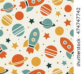 space elements seamless pattern.... | Shutterstock .eps vector #474747742
