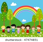 children and rainbow   art... | Shutterstock .eps vector #47474851