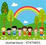 children and rainbow   art... | Shutterstock .eps vector #47474851