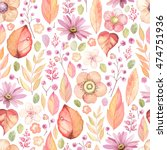 rustic floral pattern with... | Shutterstock .eps vector #474751936