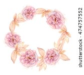 hand painted watercolor floral... | Shutterstock . vector #474757552