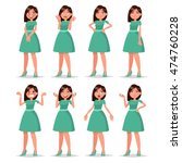 set girl dressed in a dress... | Shutterstock .eps vector #474760228