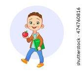 cartoon boy with modern... | Shutterstock .eps vector #474760816