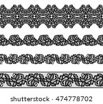 set of black lace borders on... | Shutterstock .eps vector #474778702