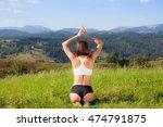 beautiful young girl doing yoga ... | Shutterstock . vector #474791875