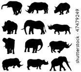 beast duel  elephants and rhinos | Shutterstock .eps vector #47479249