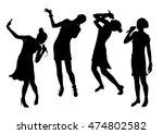 black singing people...   Shutterstock .eps vector #474802582