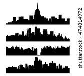 black city silhouette set