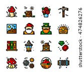 thin line gnome icons set ... | Shutterstock .eps vector #474826276