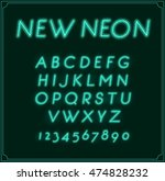neon italic font type alphabet. ... | Shutterstock .eps vector #474828232