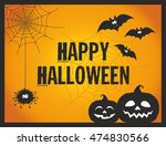 cute and fun happy halloween... | Shutterstock .eps vector #474830566