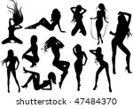 female stripper silhouettes | Shutterstock .eps vector #47484370