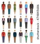 man and woman flat vector set... | Shutterstock .eps vector #474845686