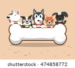 Stock vector cartoon dogs with big bone 474858772
