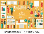 school big collection in flat... | Shutterstock .eps vector #474859732