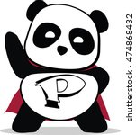 little cute panda superhero.... | Shutterstock .eps vector #474868432