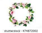 round frame wreath pattern with ... | Shutterstock . vector #474872002